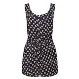Navy Daisy Print Belted Playsuit